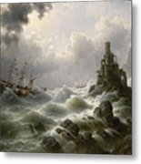 Stormy Sea With Lighthouse On The Coast Metal Print