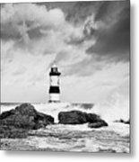 Stormy Seas Black And White Metal Print