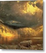 Stormy Skies Above Echo Lake White Mountains  Metal Print
