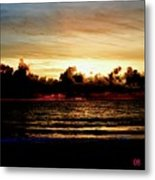 Stormy Sunrise Over The Ocean  Metal Print