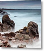 Stormy Sunset Beach Metal Print