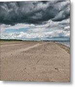 Stormy Weather Over Tentsmuir Beach In Scotland Metal Print