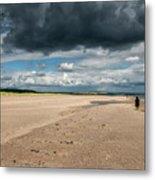 Stormy Weather Over The Beach In Scotland Metal Print