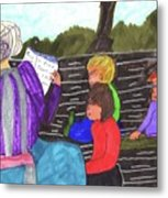 Story-time On Grand Mom's Porch Metal Print