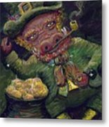 St.patricks Day Pig Metal Print