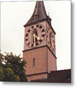 St.peter Church Clock In Zurich Switzerland Metal Print