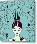 Strange Hairstyle And Flowery Swirls Metal Print