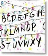 Stranger Things Alphabet Wall Christmas Lights Metal Print