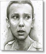 Stranger Things Eleven Upside Down Art Portrait Metal Print
