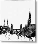Strasbourg Skyline-black Metal Print
