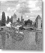 Strasbourg. View From The Barrage Vauban. Black And White 2 Metal Print