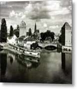 Strasbourg. View From The Barrage Vauban. Black And White Metal Print