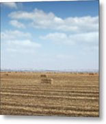 Straw Bale And Center Pivot Sprinkler System On Field Metal Print
