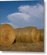 Straw Bales On A Hog Farm In Kansas Metal Print