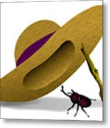 Straw Hat And Horn Beetle Metal Print