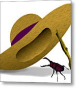 Straw Hat And Stag Beetle Metal Print
