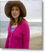 Straw Hat At The Beach Metal Print