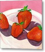 Strawberries And Cream Metal Print