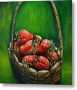 Strawberries Contemporary Oil Painting Metal Print