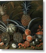 Strawberries In A Porcelain Bowl With Pineapples Melons Peaches And Figs Before A Tropical Landscape Metal Print