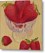 Strawberries In Crystal Dish Metal Print