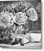 Strawberries With Cream Black And White Metal Print