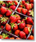 Strawberries With Green Weed In Plastic Containers  Metal Print