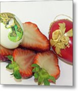 Strawberry And Easter Eggs Metal Print