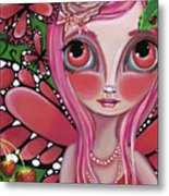 Strawberry Butterfly Fairy Metal Print