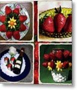 Strawberry Collage Metal Print