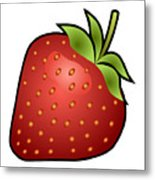 Strawberry Fruit Outlined Metal Print