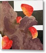 Strawberry In Chocolate Metal Print