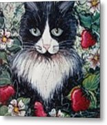 Strawberry Lover Cat Metal Print
