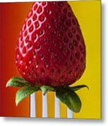 Strawberry On Fork Metal Print by Garry Gay
