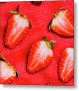 Strawberry Slice Food Still Life Metal Print