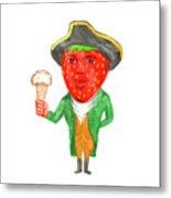 Strawberry Tricorn Hat Ice Cream Victorian Gentleman Watercolor Metal Print