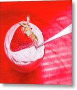 Strawberry Yogurt In Round Bowl With Spoon Metal Print