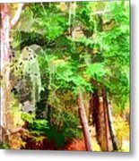Streams In A Wood Covered With Leaves Metal Print
