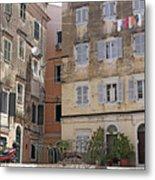 street and old buildings Corfu town Metal Print