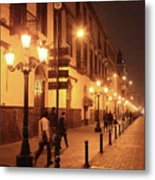 Street At Night, Lima Peru Metal Print