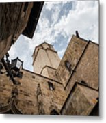 Street Behind The Barcelona Cathedral In Spain. Metal Print