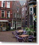 Street Cafe Mooy In Amsterdam Metal Print