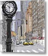 Street Clock On 5th Avenue Handmade Sketch Metal Print