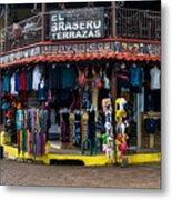 Street Commerce At Ataco Metal Print