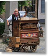 Street Entertainer In Bruges Belgium Metal Print
