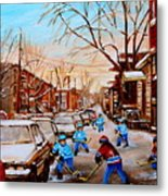Street Hockey On Jeanne Mance Metal Print