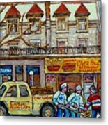 Street Hockey Pointe St Charles Winter  Hockey Scene Paul's Restaurant Quebec Art Carole Spandau     Metal Print