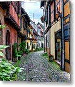 Street In Eguisheim, Alsace, France Metal Print