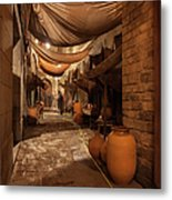 Street In Gothic District Of Barcelona At Night Metal Print