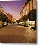 Street In Ostrow Tumski By Night In Wroclaw Metal Print